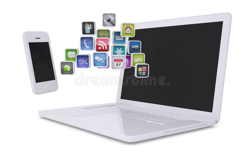 Download White Laptop And Smartphone Communicate Royalty Free Stock Photography - Image: 28606967
