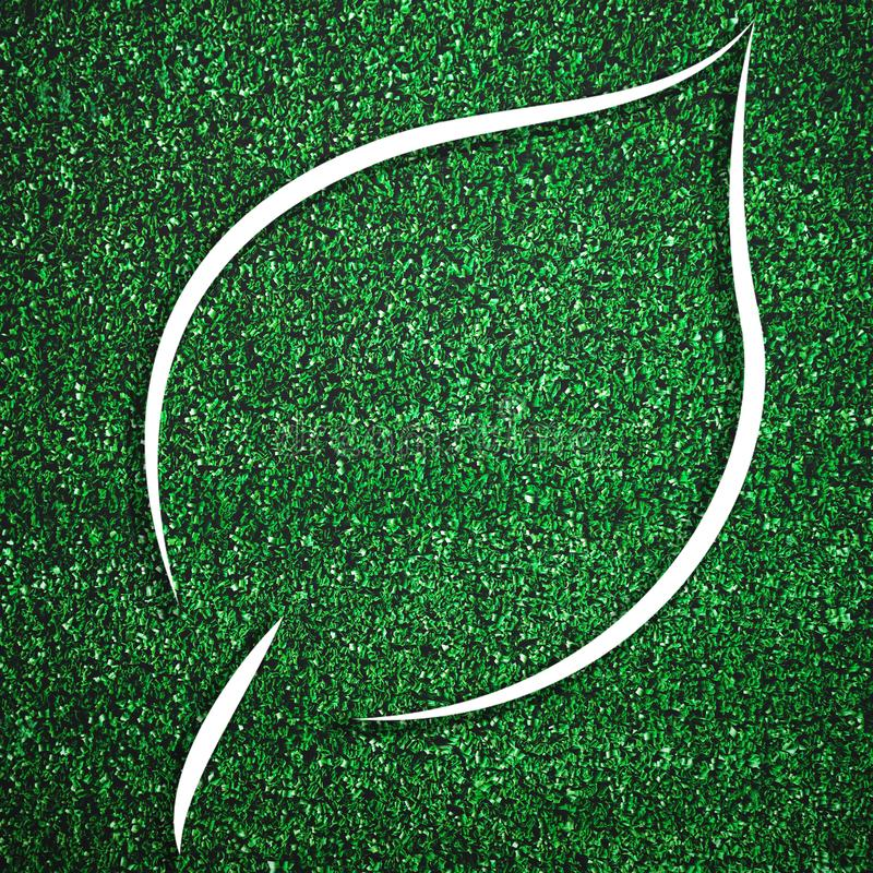 White leaf shape frame on green grass for decoration template. Eco and environment theme. Illustration graphic design element. Vector, background, nature stock photography