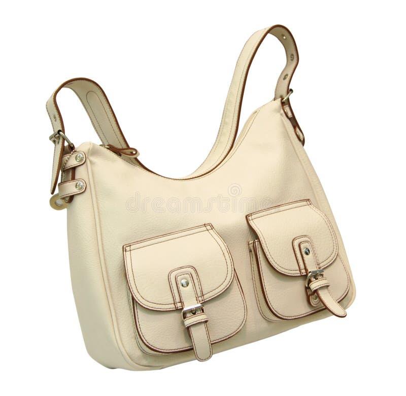 White leather bag royalty free stock photos