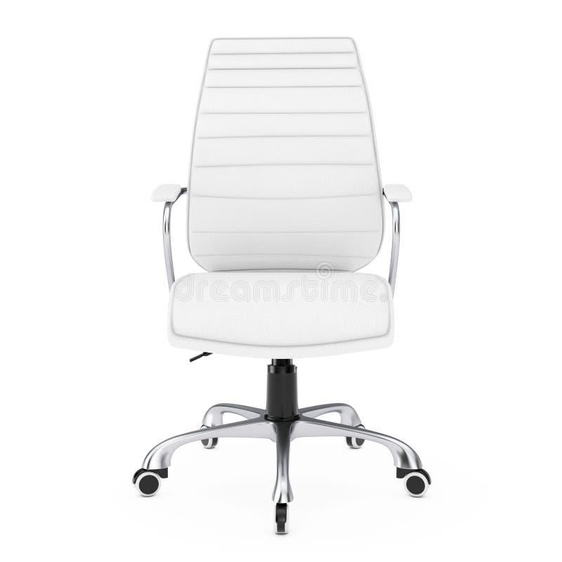 white leather boss office chair 3d rendering stock illustration