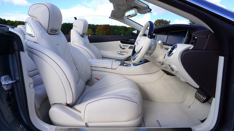White Leather Bucket Car Seat royalty free stock photos
