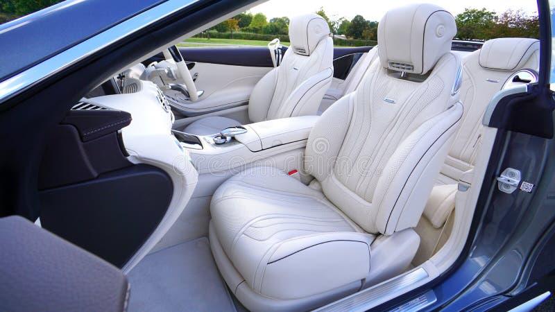 White Leather Car Bucket Seat stock photos