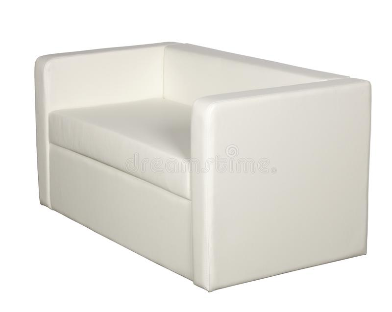 White leather sofa. On a white background stock image