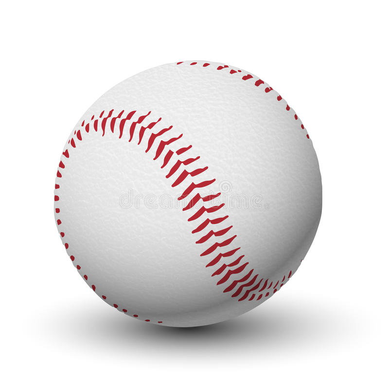 White leather textured baseball ball with red stitches isolated. vector illustration