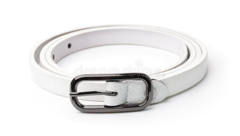 White leather thin belt royalty free stock photos