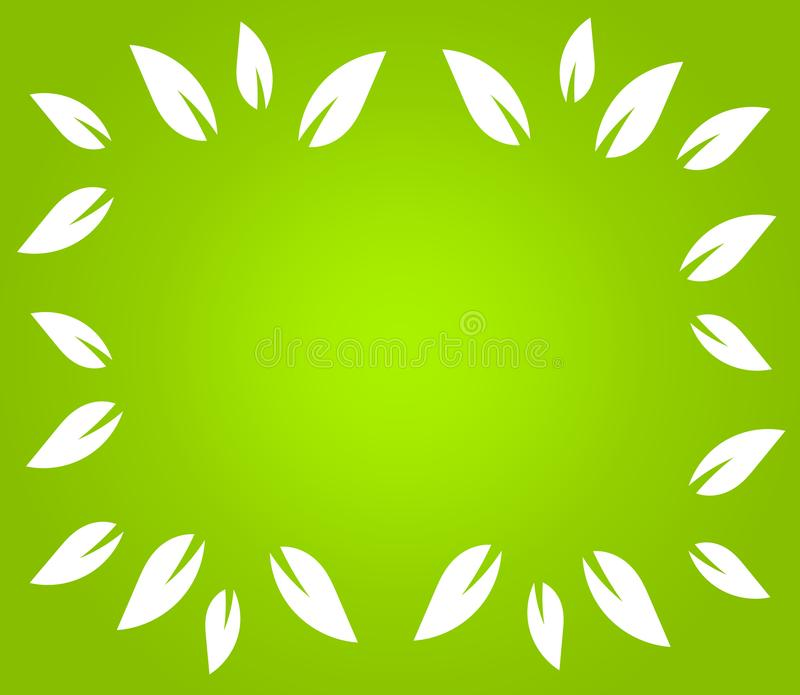 White leaves border on green background royalty free illustration