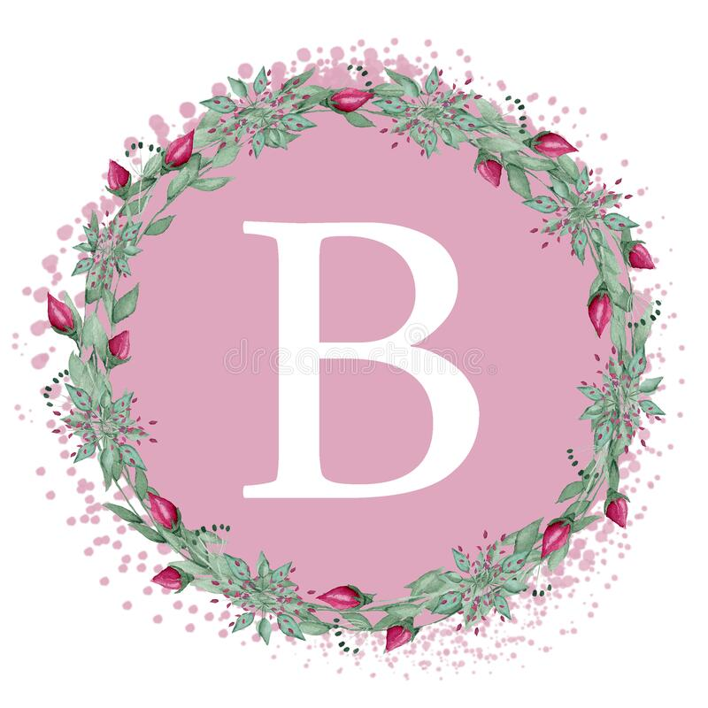 White letter B on a pink background. Handwritten script of the brush. Modern Matte Lettering. The design of the pillows. White letter B on a pink background vector illustration