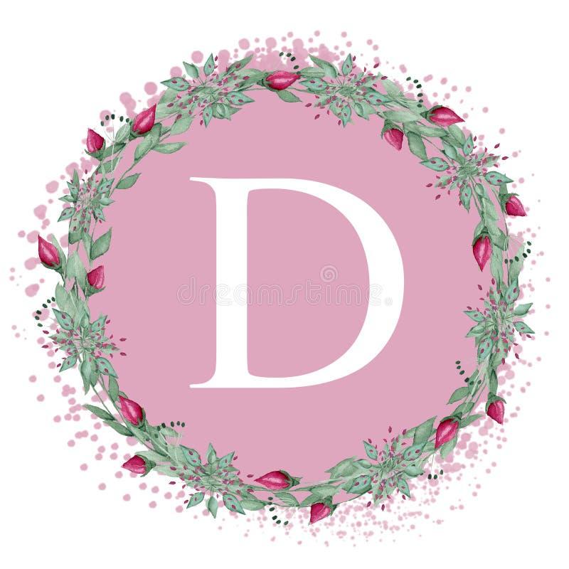 White letter D on a pink background. Handwritten script of the brush. Modern Matte Lettering. The design of the pillows. White letter D on a pink background stock illustration