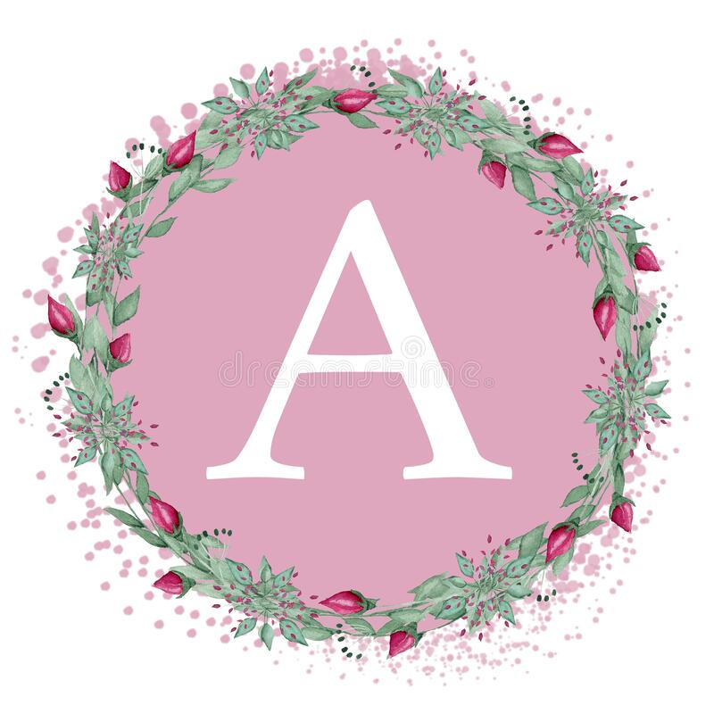 White letter A on a pink background. Handwritten script of the brush. Modern Matte Lettering. The design of the pillows. White letter A on a pink background vector illustration