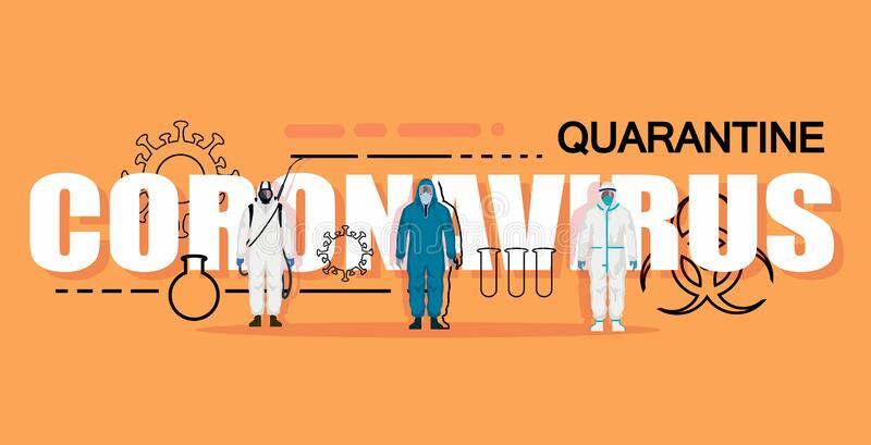 White lettering Coronavirus on an orange background with characters in chemical protection and elements. Coronavirus vector banner stock illustration