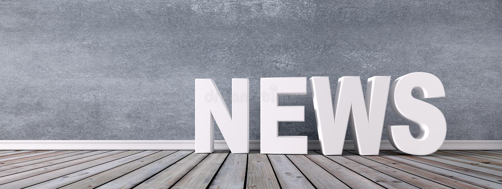 White letters NEWS in front of a wall stock image