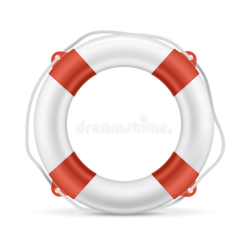 White Lifebuoy. With red stripes and rope. Isolated Vector illustration. EPS10 opacity royalty free illustration
