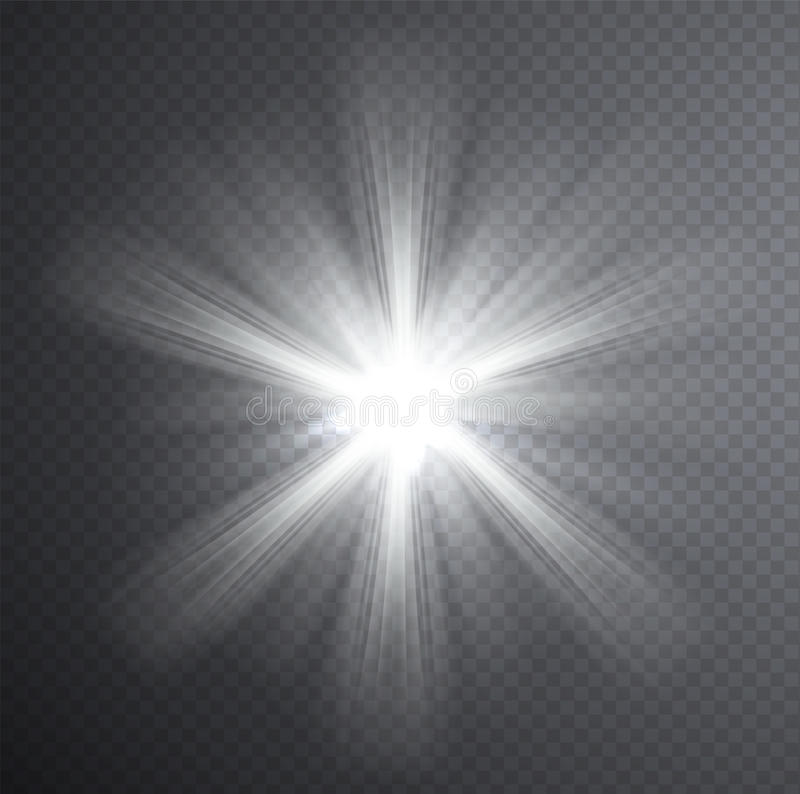 White Light Beam Transparent Light Effect Stock Vector