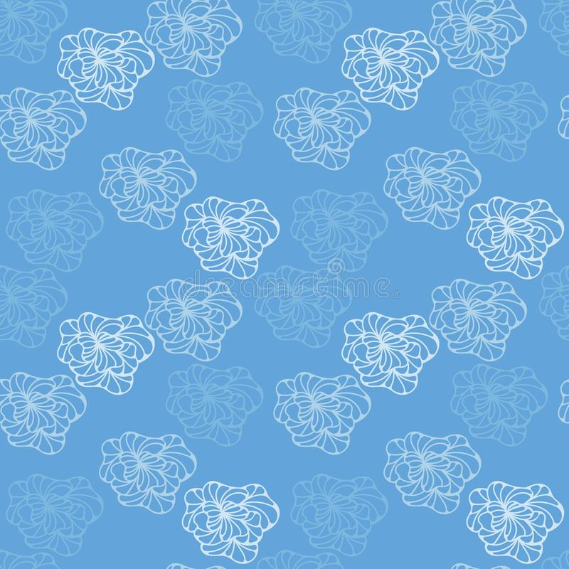 Abstract Light Blue Hand Drawn Pattern Stock Vector