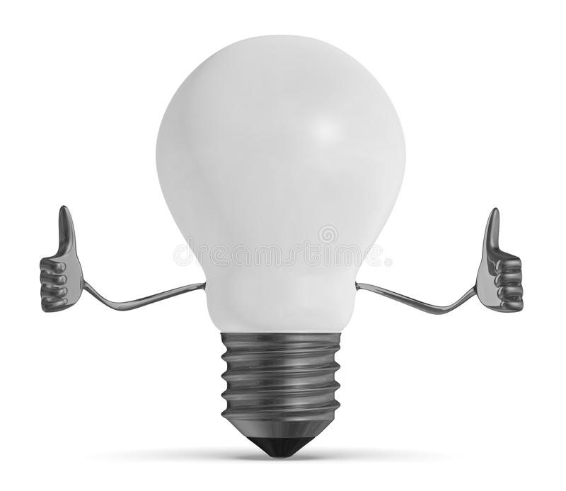 White light bulb character giving thumbs up. White tungsten light bulb character giving thumbs up royalty free illustration