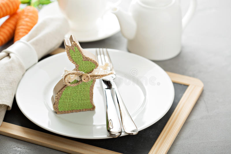 White and light Easter table setting stock image