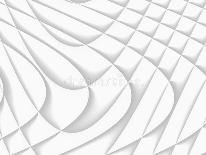 White and light grey futuristic pattern. Monochromatic design for backgrounds, templates, backdrops, surface, textile and fabric. Designs. 3d render royalty free illustration