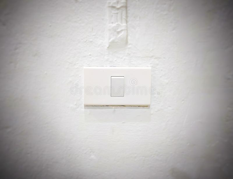White light switch, turn on or turn off the lights.  stock image