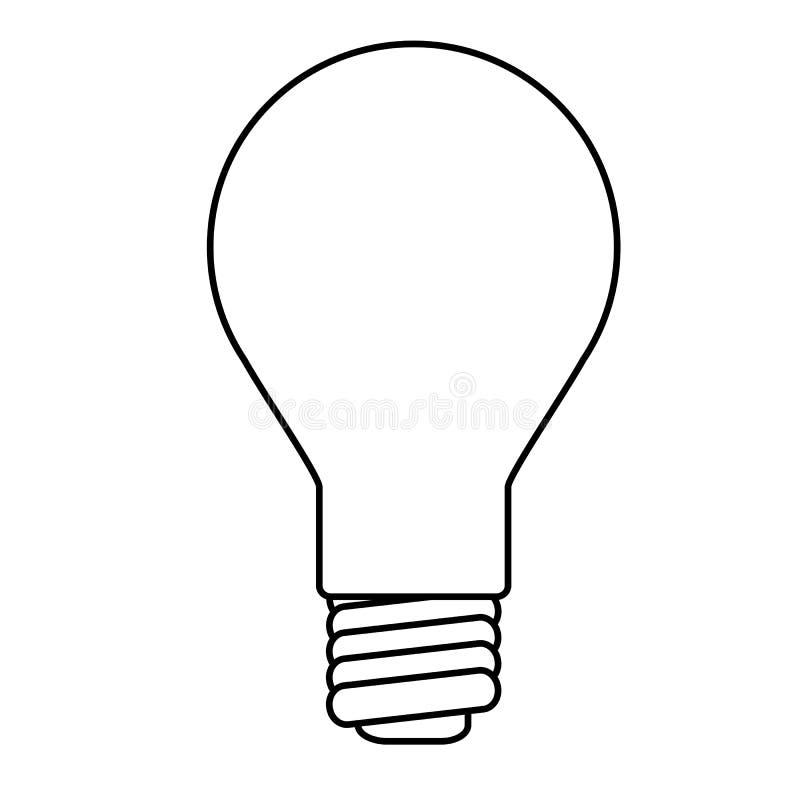 White Lightbulb Outline On White vector illustration