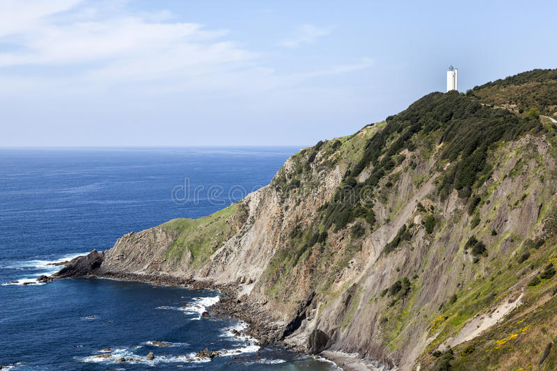 White lighthouse on the cliff. In Gorliz, Basque Country, Spain stock photography