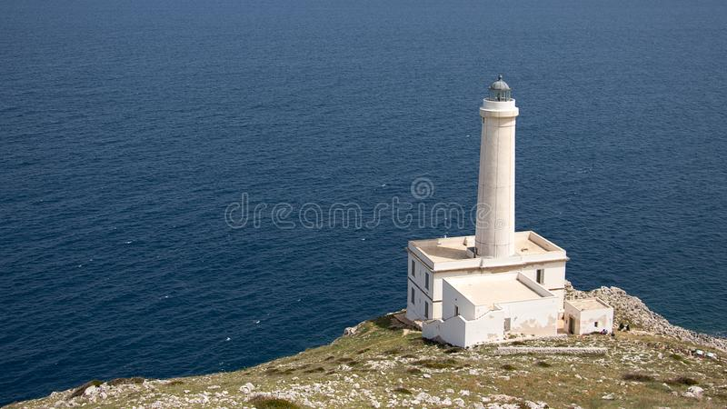 White Lighthouse on Cliff Near Body of Water royalty free stock images