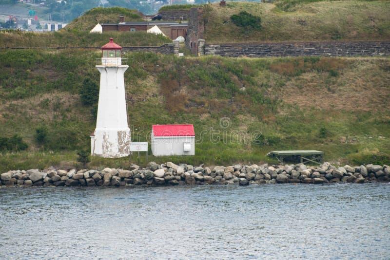 Lighthouse on island near Halifax, Nova Scotia, Canada. White lighthouse with cottage on island near Halifax, Nova Scotia, Canada. Atlantic Ocean. Nautical royalty free stock image