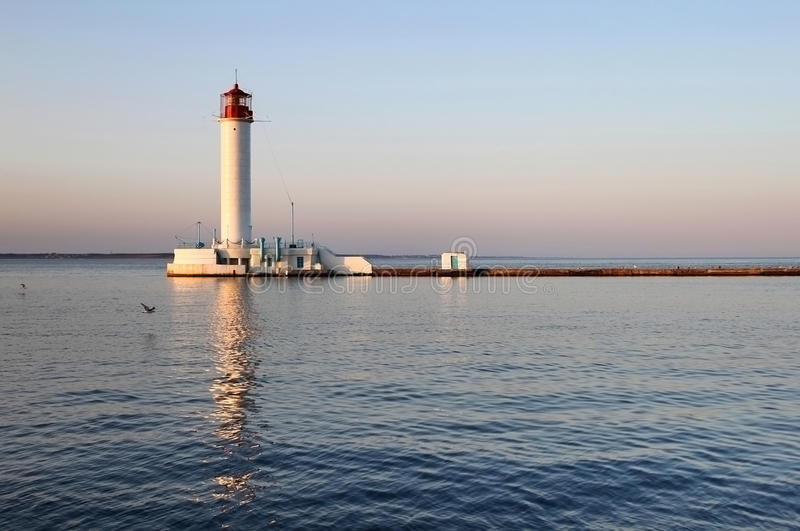 Download White Lighthouse In The Evening Stock Image - Image: 28744957