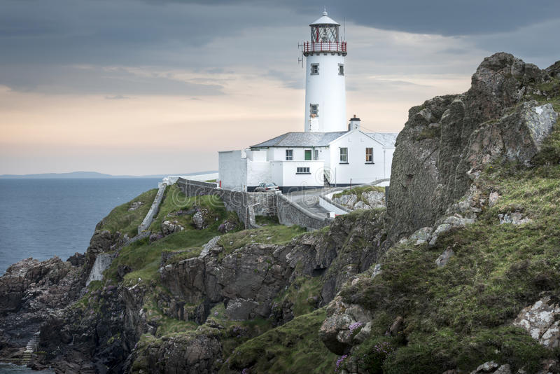 White lighthouse at Fanad Head, Donegal, Ireland. White lighthouse at Fanad Head, North Coast of Donegal, Ireland royalty free stock images