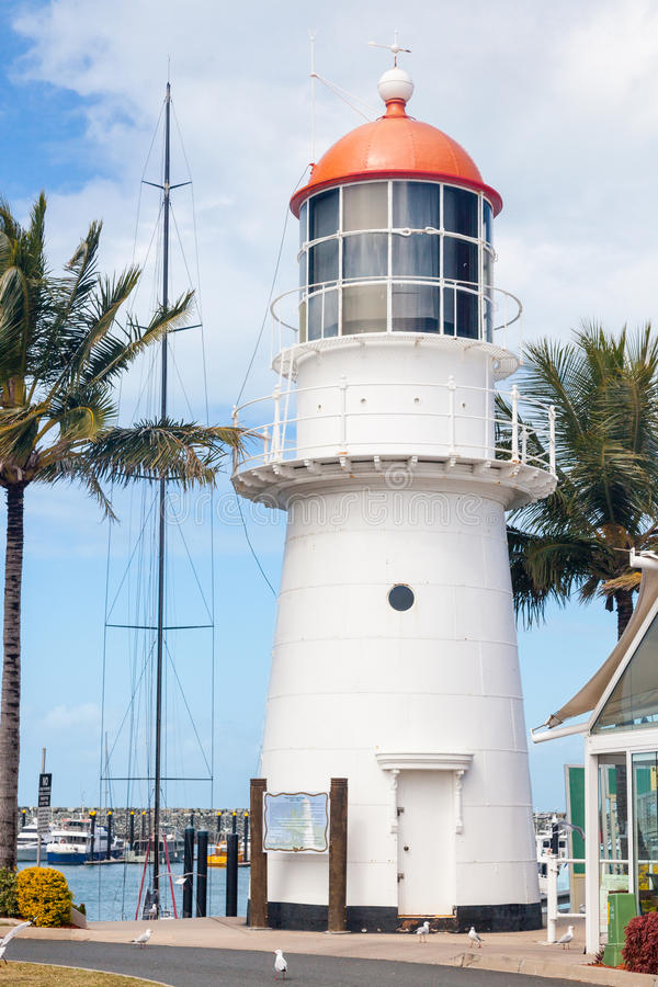 White lighthouse. In a harbour of tropical Mackay. Queensland, Australia royalty free stock photo