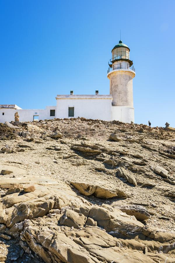 White lighthouse in Prasonisi National Park – southest spot of Island Rhodes, Greece stock photos