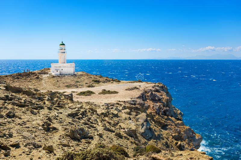 White lighthouse in Prasonisi National Park – southest spot of Island Rhodes, Greece stock image