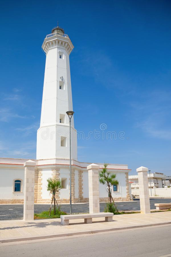 White Lighthouse of Torre Canne, Fasano in south of Italy. White Lighthouse of Torre Canne, Fasano in Italy royalty free stock photography