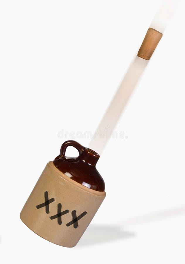 White Lighting Flying. White lighting jug popping cork and exploding stock photo