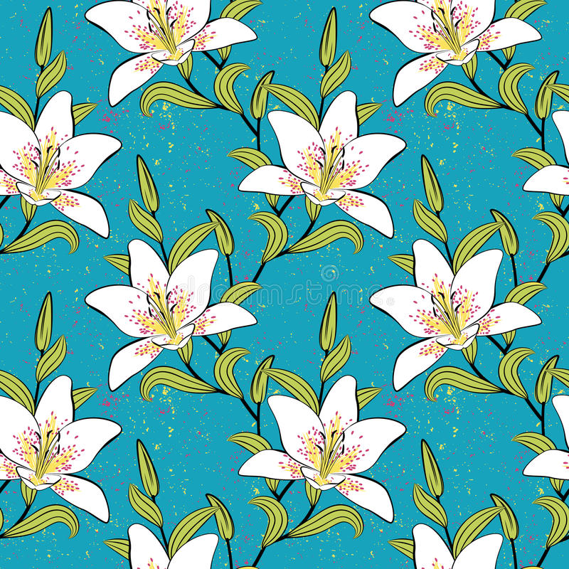 Download White Lilies, Romantic, Summer Pattern Stock Vector - Illustration of blossom, leaf: 28574954