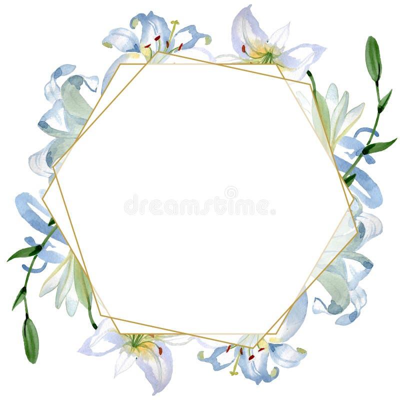 White lily floral botanical flowers. Watercolor background illustration set. Frame border ornament square. White lily floral botanical flowers. Wild spring leaf royalty free stock image