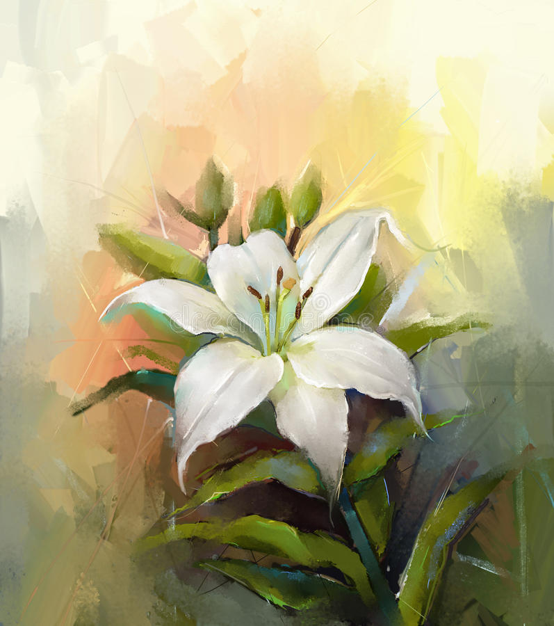 Oil painting white lily flower stock illustration for Flower paintings on canvas