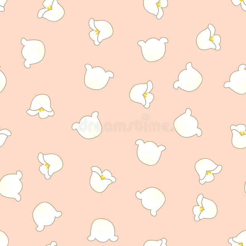 White Lily of the Valley on Light Orange Background. Vector Illustration.  royalty free illustration