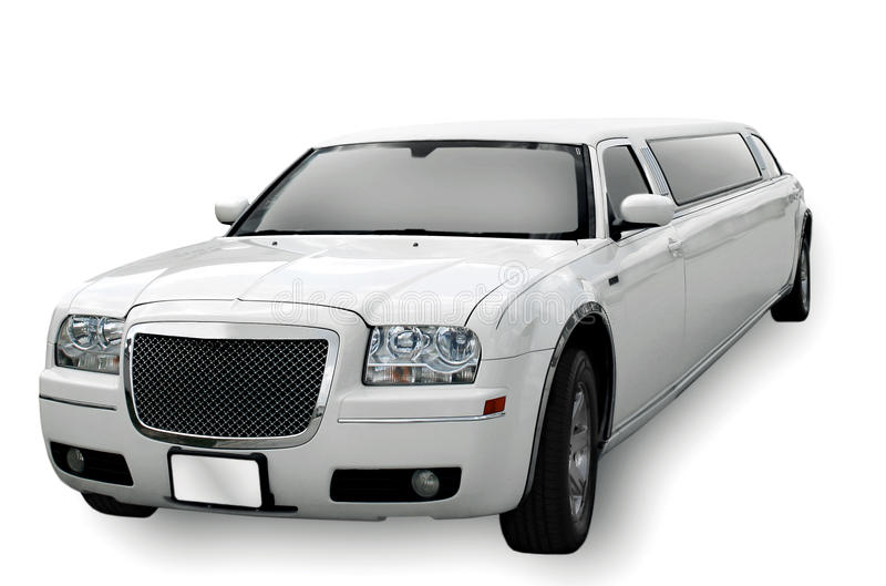 White Limo. Isolated white limosine with drop shadow stock photography