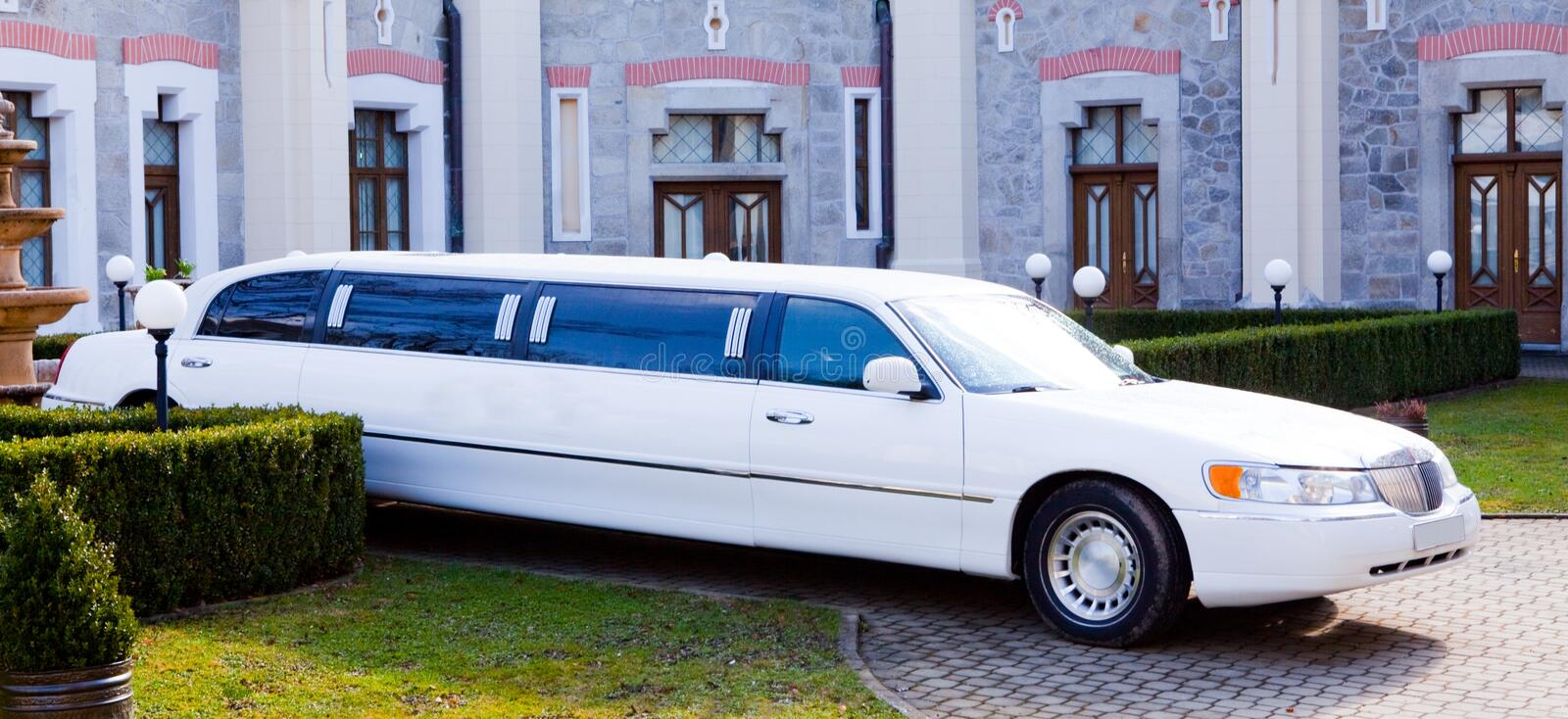 A white limousine royalty free stock image