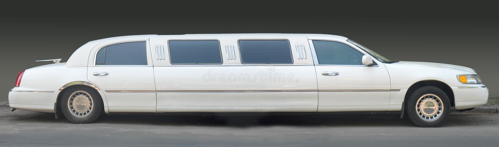 White limousine. On dark background stock image