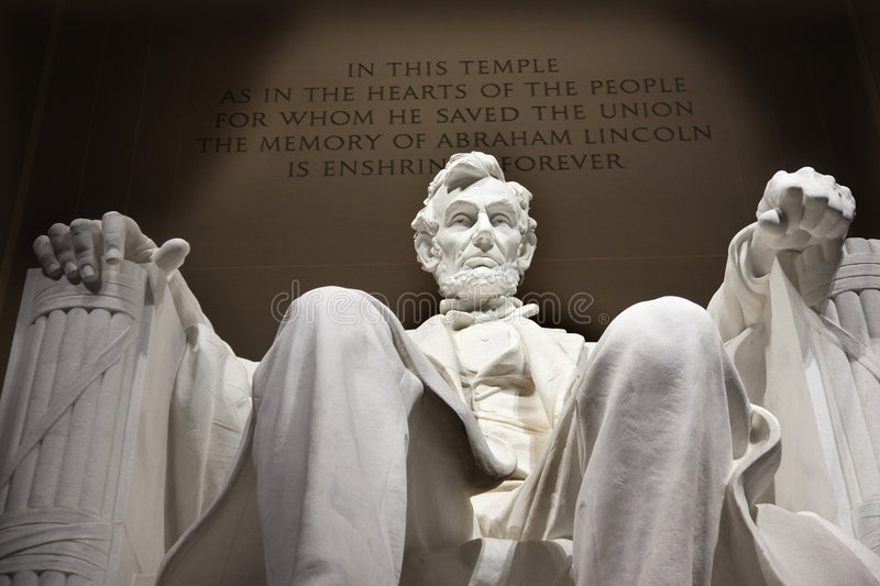 White Lincoln Statue Memorial Washington DC stock images