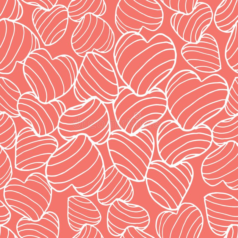 White line art bouncy striped hearts packed together on a bright coral background. Seamless vector pattern. Great for fabric, home decor, gift wrap, stationery vector illustration