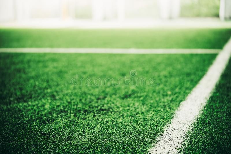 White line on Green grass sport field royalty free stock photography