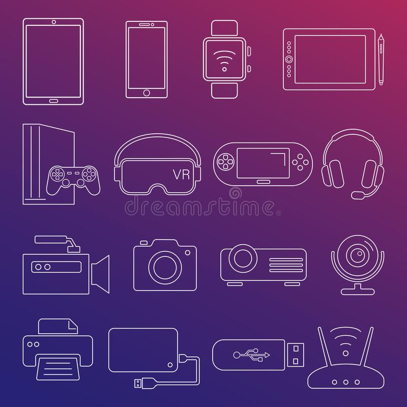 Digital devices white line icons isolated set vector illustration