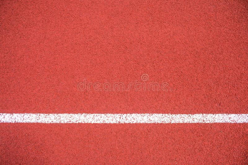 The white line on Synthetic Rubber Treadmill, Start point of run competition go to finish.  stock photo