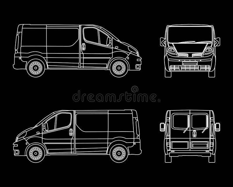White Linear car vector. Cargo minivan isolated on dark background.  royalty free illustration