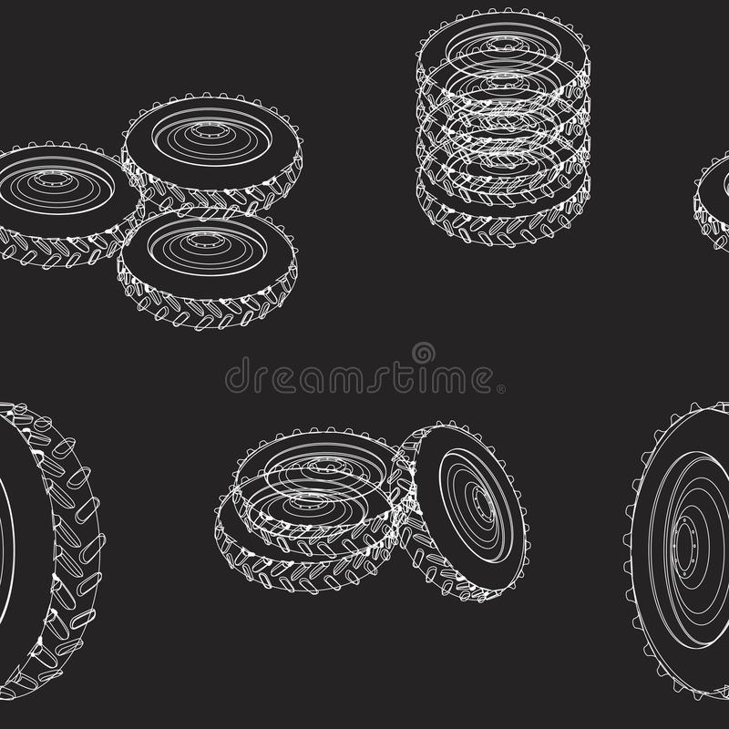 A seamless pattern with linear tire machines. White lines of tires on a black background for printing on textiles, paper, creating web patterns. Vector seamless stock photo