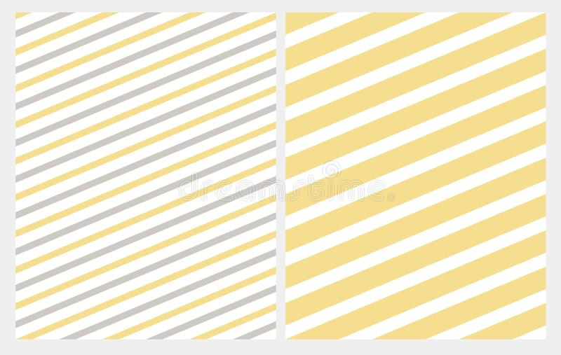 Simple Diagonal Gray and Yellow Stripes Seamless Vector Pattern. White Lines on a Yellow Background. Abstract Geometric Marine Style Repeatable Design royalty free illustration