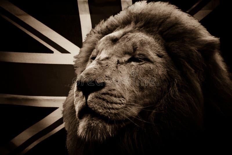 White Lion And British Flag Stock Photo