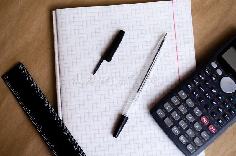 White list. Working environment Preparation for work. Preparation of the workplace. Office for recording texts. Notes for planning royalty free stock photo